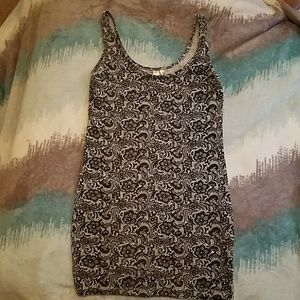 Lace print mini dress